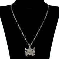 Clearance Fashion Necklace, Zinc Alloy, with iron chain, with 6cm extender chain, Owl, platinum color plated, oval chain & with rhinestone, lead & cadmium free, 62x39x5mm, Sold Per Approx 18 Inch Strand