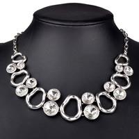 Австрийских кристаллов ожерелья, Латунь, с Австрийский хрусталь, с 5cm наполнитель цепи, Платиновое покрытие платиновым цвет, Овальный цепь & с Австралией горный хрусталь, не содержит никель, свинец, 400mm, Продан через Приблизительно 15.5 дюймовый Strand