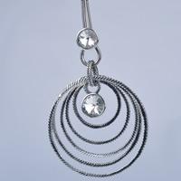 Австрийских кристаллов ожерелья, Латунь, с Австрийский хрусталь, с 5cm наполнитель цепи, Кольцевая форма, плакированный цветом под старое серебро, змея цепи & граненый, не содержит никель, свинец, 400mm, Продан через Приблизительно 15.5 дюймовый Strand