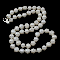 Freshwater Pearl Brass Necklace, brass lobster clasp, Potato, natural, white, 6-7mm, Sold Per Approx 16.5 Inch Strand