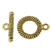 Zinc Alloy Toggle Clasp, antique gold color plated, lead & cadmium free, 16x21x2mm, 21x8x2mm, Hole:Approx 1.5mm, 20Sets/Bag, Sold By Bag