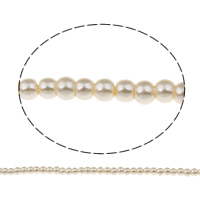 Glass Pearl Beads, Round, white, 4mm, Hole:Approx 1mm, Approx 200PCs/Strand, Sold Per Approx 32.2 Inch Strand
