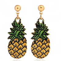 Zinc Alloy Drop Earring, stainless steel post pin, Pineapple, gold color plated, enamel & decal, lead & cadmium free, 20mm, Sold By Pair