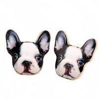 Zinc Alloy Stud Earring, stainless steel post pin, Dog, gold color plated, enamel & decal, lead & cadmium free, 10mm, Sold By Pair