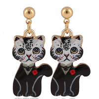 Zinc Alloy Drop Earring, stainless steel post pin, Cat, gold color plated, enamel & decal, lead & cadmium free, 20mm, Sold By Pair