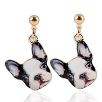 Zinc Alloy Drop Earring, stainless steel post pin, Dog, gold color plated, enamel & decal, lead & cadmium free, 20mm, Sold By Pair