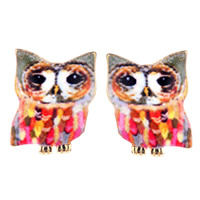 Zinc Alloy Stud Earring, stainless steel post pin, Owl, gold color plated, enamel & decal, lead & cadmium free, 10mm, Sold By Pair