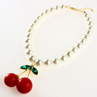 Fashion Choker Necklace, Glass Pearl, with Crystal & Zinc Alloy, with 1.9lnch extender chain, Cherry, gold color plated, for woman & faceted, nickel, lead & cadmium free, Sold Per Approx 13.3 Inch Strand