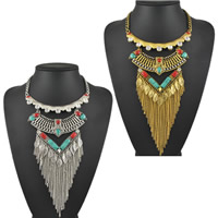 Fashion Fringe Necklace, Zinc Alloy, with Turquoise, with 1.9lnch extender chain, plated, twist oval chain & for woman & with rhinestone, more colors for choice, nickel, lead & cadmium free, Sold Per Approx 17 Inch Strand