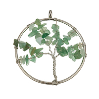 Natural Aventurine Pendants, Zinc Alloy, with Green Aventurine, Tree, platinum color plated, hollow, nickel, lead & cadmium free, 51x57x7mm, Hole:Approx 3mm, 20PCs/Lot, Sold By Lot