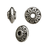 Zinc Alloy Jewelry Beads Saucer antique silver color plated nickel lead   cadmium free 6.50x6.50x3mm Hole:Approx 2mm 1000PCs/Lot