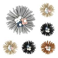 Цветок волос клип Брошь, Бархат, с ABS пластик жемчужина & цинковый сплав, Форма цветка, Другое покрытие, можно использовать в качестве броши или цветка волос & со стразами, Много цветов для выбора, 65mm, продается PC