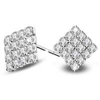 Cubic Zirconia Micro Pave Brass Earring, Rhombus, real silver plated, with 925 logo & micro pave cubic zirconia, lead & cadmium free, 12x11mm, Sold By Pair