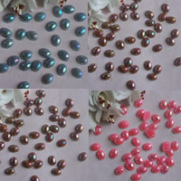 ABS Plastic Pearl Connector, Flat Oval, 1/1 loop, more colors for choice, 6x8mm, Hole:Approx 1mm, Sold By Bag