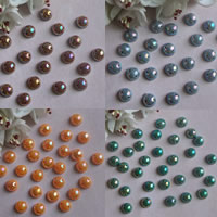 ABS Plastic Pearl Connector, Flat Oval, 1/1 loop, more colors for choice, 8mm, Hole:Approx 1mm, Sold By Bag