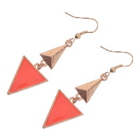 Zinc Alloy Drop Earring, Triangle, gold color plated, for woman & enamel, nickel, lead & cadmium free, 17x45mm, Sold By Pair