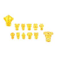 24K золото бисера, настоящие золото, разные стили для выбора, 11-13x11-13mm, отверстие:Приблизительно 1-2mm, продается PC