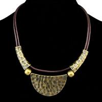 Коровьей ожерелье, Шнур из натуральной кожи, с цинковый сплав, с 4.7lnch наполнитель цепи, Покрытие под бронзу старую, Женский & двунитевая, не содержит никель, свинец, 32mm, Продан через Приблизительно 16.9 дюймовый Strand