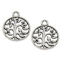 Zinc Alloy Pendants, Tree, antique silver color plated, lead & cadmium free, 15x18x1.50mm, Hole:Approx 1.5mm, 100PCs/Bag, Sold By Bag