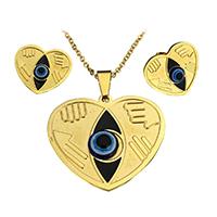 Evil Eye Sieraden Set, oorbel & halsketting, Roestvrij staal, met Hars, Hart, gold plated, boze oog patroon & ovale keten & glazuur, 38.5x34x5mm, 2.5x2x0.5mm, 23x20x16mm, Lengte:Ca 17 inch, 10sets/Lot, Verkocht door Lot
