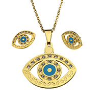 Evil Eye Jewelry Set, earring & necklace, Stainless Steel, gold color plated, oval chain & enamel & with rhinestone, 34.5x32.5x2mm, 2.5x2x0.5mm, 21x14.5x13.5mm, Length:Approx 17.5 Inch, 10Sets/Lot, Sold By Lot