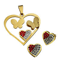 Rhinestone Jewelry Sets, pendant & earring, Stainless Steel, with Rhinestone Clay Pave, Heart, gold color plated, 36.5x35.5x6mm, 12x12x15mm, Hole:Approx 4.7x9.3mm, 10Sets/Lot, Sold By Lot