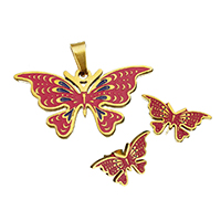 Fashion Stainless Steel Jewelry Sets, pendant & earring, Butterfly, gold color plated, enamel, 34x18x2mm, 20.5x10.5x12.5mm, Hole:Approx 3.5x6.2mm, 10Sets/Lot, Sold By Lot