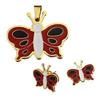Fashion Stainless Steel Jewelry Sets, pendant & earring, Butterfly, gold color plated, enamel, 31.5x26x2mm, 19x16x13mm, Hole:Approx 3.7x7.6mm, 10Sets/Lot, Sold By Lot