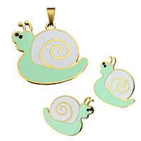 Fashion Stainless Steel Jewelry Sets, pendant & earring, Snail, gold color plated, enamel, 33x30.5x2mm, 26x24x12.5mm, Hole:Approx 3.4x8.5mm, 10Sets/Lot, Sold By Lot
