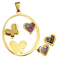 Fashion Stainless Steel Jewelry Sets, pendant & earring, with Rhinestone Clay Pave, Heart, gold color plated, 37x48x5mm, 12.5x11.5x14.5mm, Hole:Approx 4.1x9mm, 10Sets/Lot, Sold By Lot