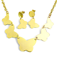 Fashion Stainless Steel Jewelry Sets, earring & necklace, Butterfly, gold color plated, oval chain, 33x25x1mm, 25x20x1mm, 6x4x1mm, 20x21x1mm, 32mm, Length:Approx 18 Inch, 10Sets/Lot, Sold By Lot