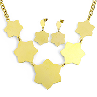 Fashion Stainless Steel Jewelry Sets, earring & necklace, Flower, gold color plated, oval chain, 43x41x1mm, 31x42x1mm, 8x6x1mm, 20x23x1mm, 37mm, Length:Approx 20 Inch, 10Sets/Lot, Sold By Lot
