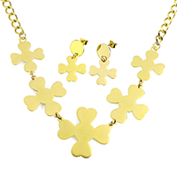 Fashion Stainless Steel Jewelry Sets, earring & necklace, Cross, gold color plated, oval chain, 39x36x1mm, 30x36x1mm, 9x6x1mm, 20x20x1mm, 33mm, Length:Approx 18 Inch, 10Sets/Lot, Sold By Lot