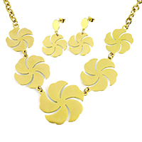 Fashion Stainless Steel Jewelry Sets, earring & necklace, Flower, gold color plated, oval chain, 41x38x1mm, 32x38x1mm, 8x6x1mm, 23x23x1mm, 37mm, Length:Approx 18 Inch, 10Sets/Lot, Sold By Lot