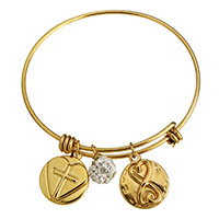 Stainless Steel Bangle with Rhinestone Clay Pave Bead gold color plated charm bracelet   for woman 17x21x3mm 10mm 17x20x3mm 2mm Inner Diameter:Approx 62mm Length:Approx 8 Inch 10PCs/Lot