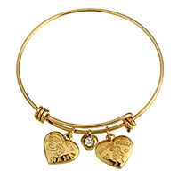 Stainless Steel Bangle gold color plated charm bracelet   with letter pattern   for woman   with rhinestone 17x16x3mm 8x9x3mm 17x16x3mm 2mm Inner Diameter:Approx 62mm Length:Approx 8 Inch 10PCs/Lot