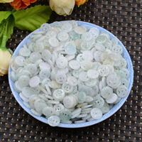 Natural Jadeite Beads, Flat Round, hollow, 10mm, Hole:Approx 0.6mm, 100PCs/Lot, Sold By Lot