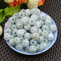 Natural Jadeite Beads, Round, hollow, 12-13mm, Hole:Approx 0.7mm, 10PCs/Lot, Sold By Lot