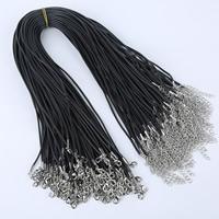 Шнуры для ожерелий, Силикон, цинковый сплав Замок-карабин, с 5cm наполнитель цепи, Платиновое покрытие платиновым цвет, черный, 2mm, длина:Приблизительно 16.5 дюймовый, 100пряди/сумка, продается сумка