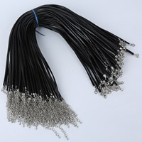 Шнуры для ожерелий, Шнур из натуральной кожи, цинковый сплав Замок-карабин, с 5cm наполнитель цепи, Платиновое покрытие платиновым цвет, черный, 1.5mm, длина:Приблизительно 16.5 дюймовый, 100пряди/сумка, продается сумка