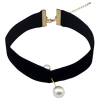 Fashion Choker Necklace, Velveteen Cord, with Glass Pearl & Zinc Alloy, with 3.2lnch extender chain, gold color plated, for woman, nickel, lead & cadmium free, Sold Per Approx 12.4 Inch Strand