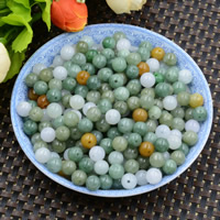 Natural Jadeite Beads, Round, 7-8mm, Hole:Approx 0.7mm, 10PCs/Lot, Sold By Lot