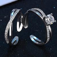 Пара кольца перста, Латунь, плакированный настоящим серебром, с 925 логотипом & инкрустированное микро кубического циркония & для пара, не содержит свинец и кадмий, 17mm, размер:6.5, продается Пара
