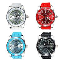 Zegarek unisex, Stop cynku, ze Szkło & Silikon, Platerowane w kolorze platyny, dla obu płci, dostępnych więcej kolorów, 40mm, długość:około 9.5 cal, sprzedane przez PC