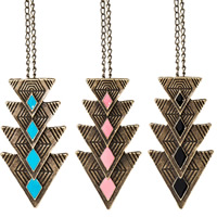 Zinc Alloy Jewelry Necklace, Triangle, antique bronze color plated, twist oval chain & for woman & enamel, more colors for choice, nickel, lead & cadmium free, 28x55mm, Sold Per Approx 21.2 Inch Strand