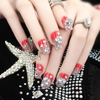 Nail Decal, PC Plastic, with Nail Glue & Crystal & Rhinestone, for bridal & faceted & colorful powder, red, 7-18mm, 3Sets/Lot, 24PCs/Set, Sold By Lot