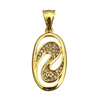 Rhinestone Pendant, Stainless Steel, Flat Oval, gold color plated, with rhinestone, 16x32x3mm, Hole:Approx 5x8mm, 5PCs/Lot, Sold By Lot