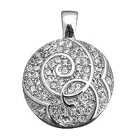 Rhinestone Pendant, Stainless Steel, Flat Round, with rhinestone, original color, 23x31x6mm, Hole:Approx 3x5mm, 5PCs/Lot, Sold By Lot