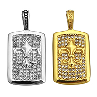 Rhinestone Pendant, Stainless Steel, Rectangle, plated, with rhinestone, more colors for choice, 19x40x7mm, Hole:Approx 4x7mm, 5PCs/Lot, Sold By Lot