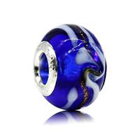 Бусины лэмпворк (стиль Европейская стиль), Лэмпворк, Круглая форма, Связанный вручную, латунные Двухместный ядро без Тролль & крупное отверстие, 10x15mm, отверстие:Приблизительно 5mm, продается PC